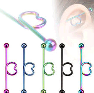 Wholesale Anodized spiral titanium industrial barbell for ear piercing