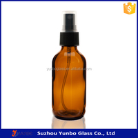Top Quality 60 ml Amber Spray Bottles Essential Oil Glass with Black Fine-mist Sprayer