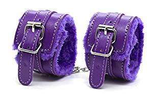 LOVE US,Adjustable Plush PU Leather Hand Restraints Adult Toy Slave Wrist and Ankle Handcuffs (Purple)