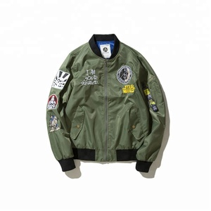 Customized design Navy embroidery Brand Fashion MA 1 flight Men's jacket