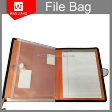 wholesale fashion Plastic PP/pvc portfolio file folder with notepad