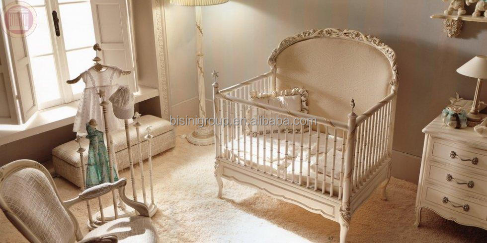 Royal baby custom made wood baby crib french style elegant oversized bedroom furniture new born - Baby slaapkamer deco ...