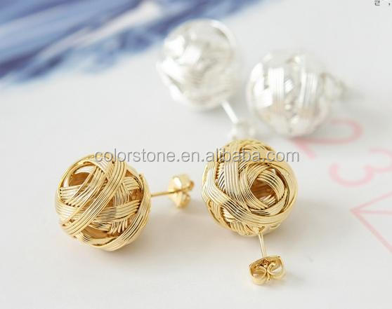 Golden Earring Designs For Women White Stud Earrings Gold Ball