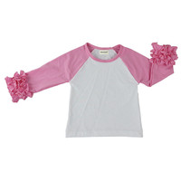 100% cotton baby clothes wholesale boutique fancy design kids shirt spring fall baby girl pink icing ruffle shirt