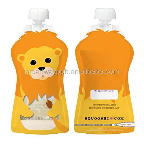 custom printed stand up liquid food packaging water pouch for kids reusable baby food pouch