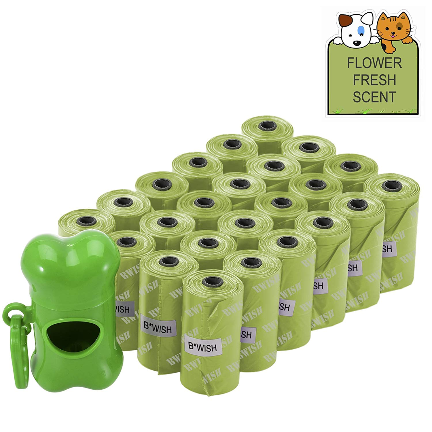 BWISH 360 Count Pet Puppy Waste Bag Pouch Durable Biodegradable Environment-Friendly Dog Waste Bag, Scented Poop Bag ,Dispenser and Clip Included (15 Bags/Roll, 24 Rolls)