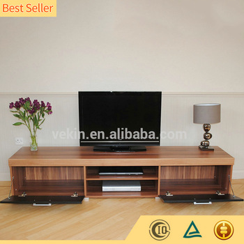 Modern Living Room Design Wooden TV Furniture Stand Pictures With 2 Doors Bookcase