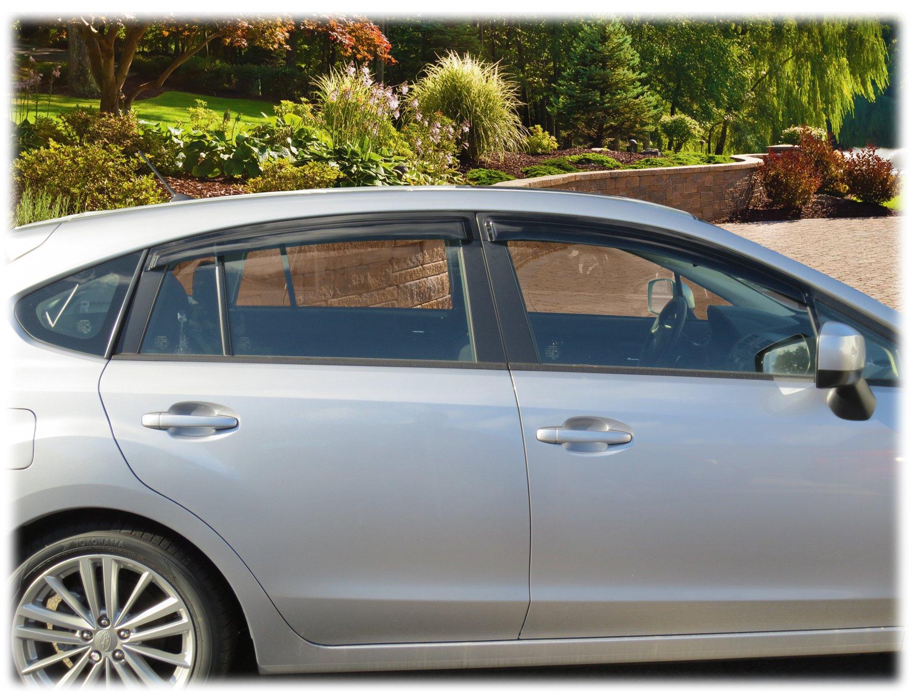 C&C Car Worx WV-12IH-TF Set of 4 Tape-On Window Visor Rain Guard Deflectors fit 2012-16 Subaru Impreza Hatchback (DO NOT FIT WRX or STI)