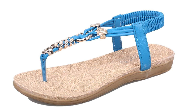 71e53e3a7037 Maybest Bohemian Women Sandals Summer Flats Beach Shoes Strappy Rome Flip  Flops