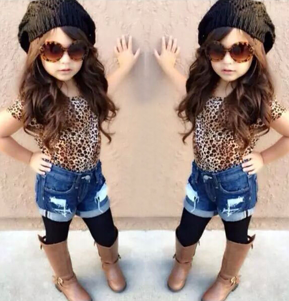 Adorable Baby Clothes Girls T-shirt With Fashion Jean Shorts Baby ...