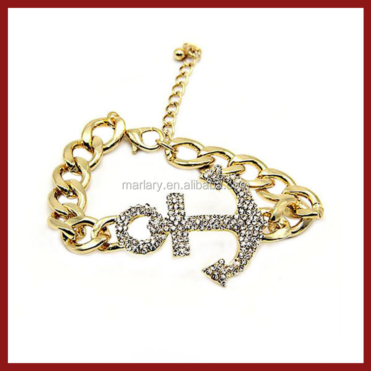 New Gold Chain Design for Men Stainless Steel Anchor Bracelet Charm Jewelry
