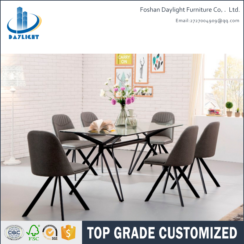 Dining table set 6 iron chairs tempered glass top center table design