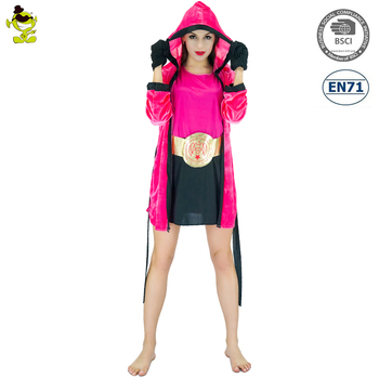 Knock Out Girl Women Boxer Costume Boxing Fancy Dress Up Halloween