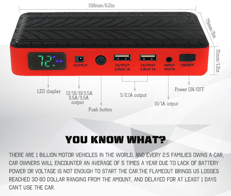 Big Capacity Bank Portable Power wholesale car multi-function 10400mAh  jump starter power bank