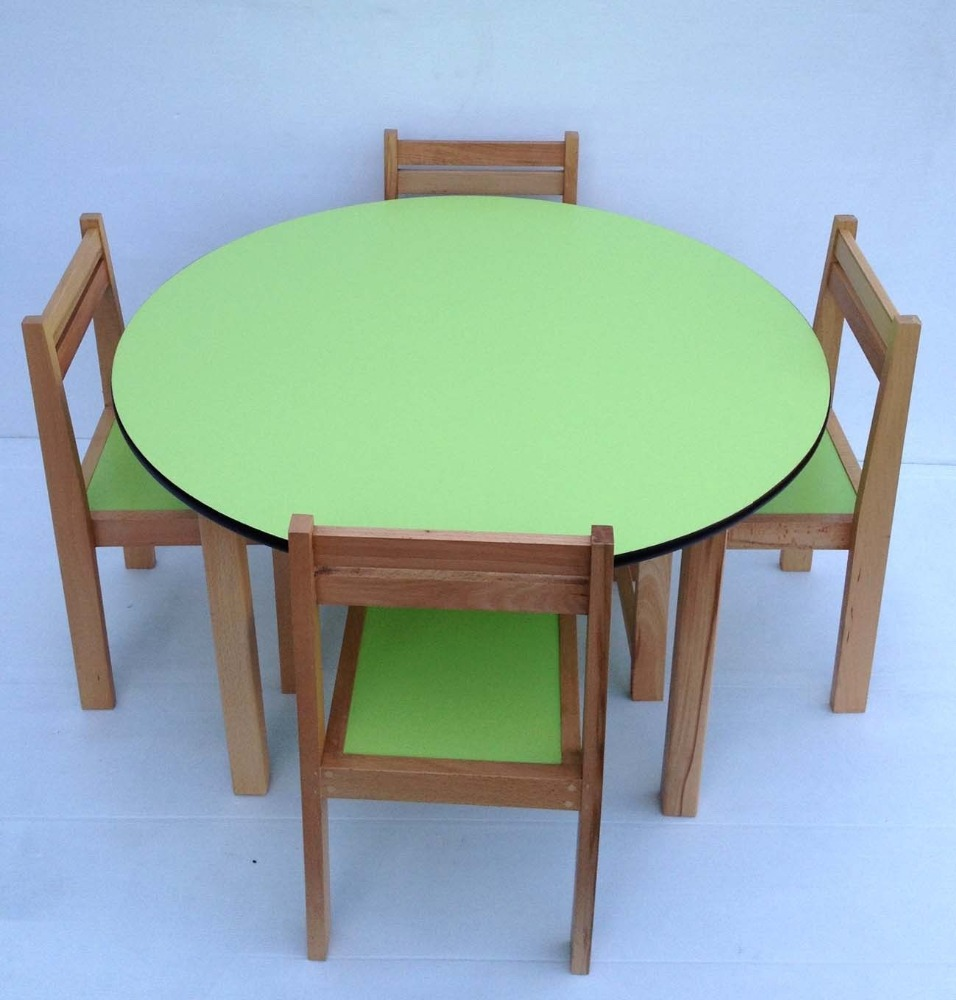 kids beech wood round table stacking chairs classroom pre school furniture chair