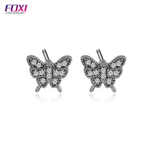 24k gold dipped real rose gold black raw material cubic zirconia stud summer butterfly earrings