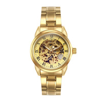 Skeleton Automatic Mechanical Watches For Men Wrist Watch Stainless Steel Strap Gold Watch Reloj