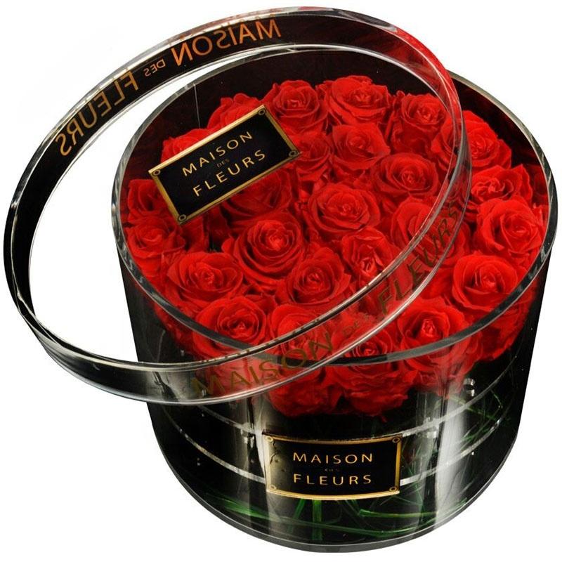 Retail customized acrylic round rose box