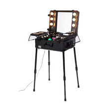 Wheeled Trolley Lighting Rolling Makeup Kit Case With Stand Jack