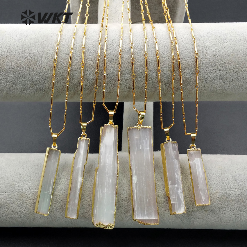 WT-N1021 New Hotsales raw stone selenite Necklace, high quality 24k real gold trim long white selenite necklace