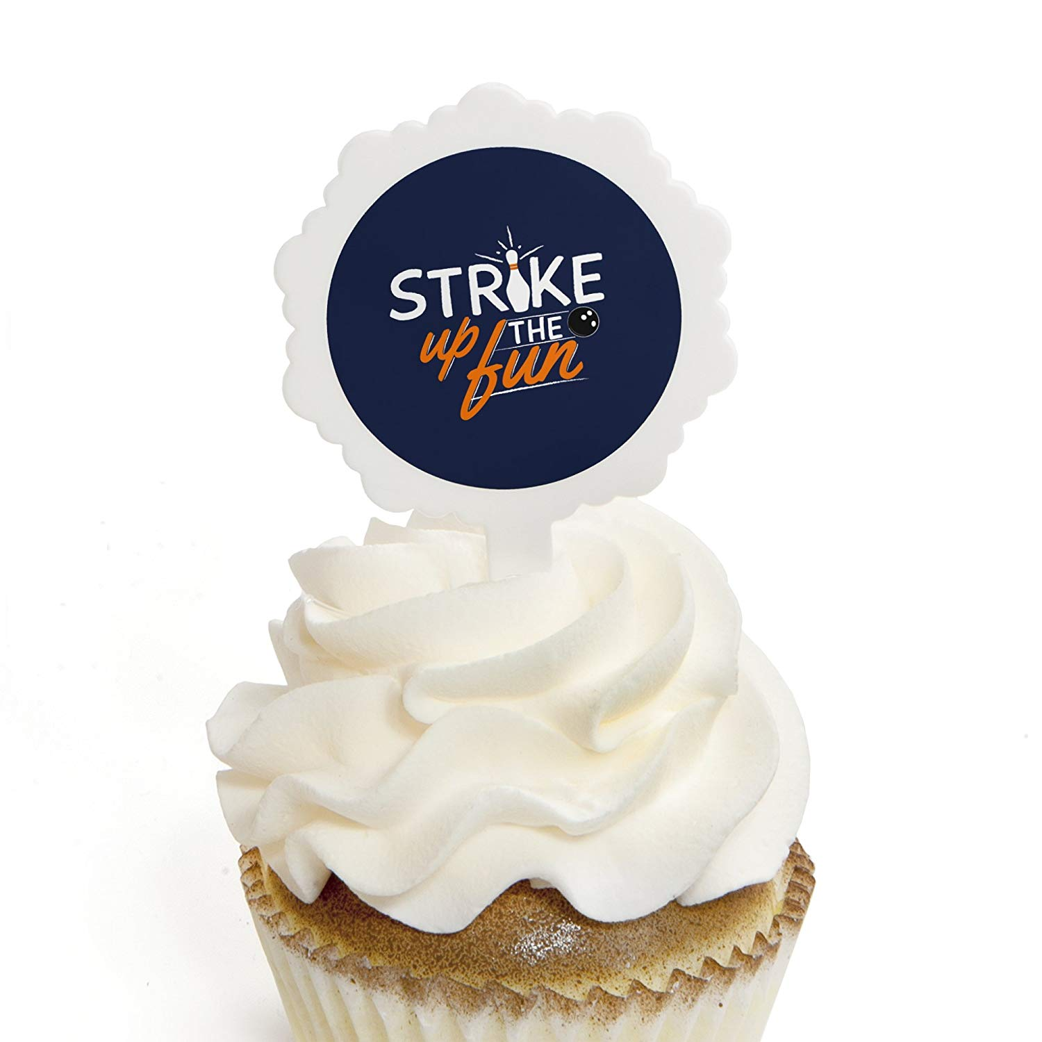 Strike Up the Fun - Bowling - Cupcake Picks with Stickers - Birthday Party or Baby Shower Cupcake Toppers - 12 Count