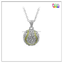 Custom round disc yellow gold enamel rhinestones baseball pendant necklace
