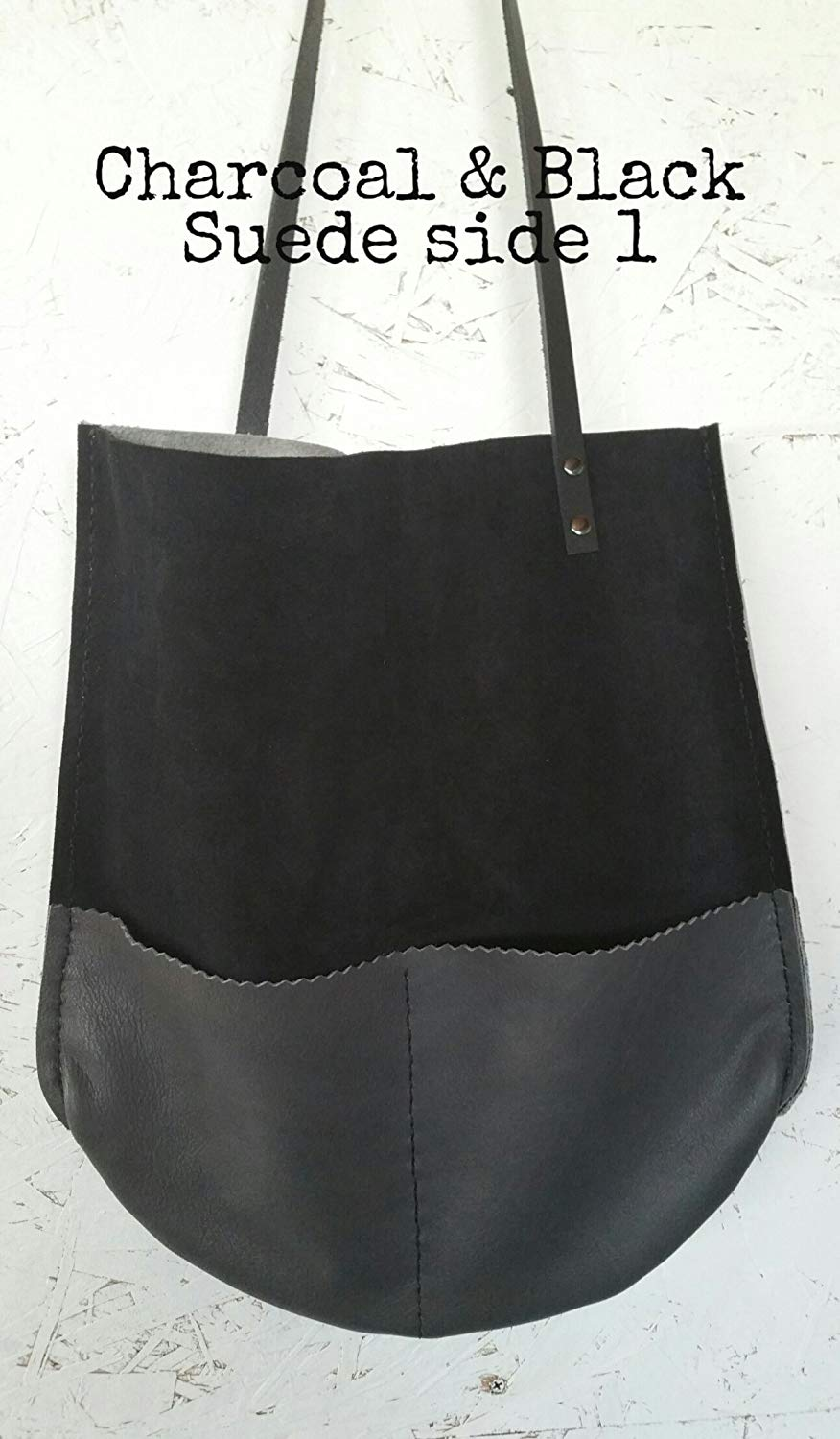 Handmade Leather Color Block Reversible Tote Shopper with pockets in Black  suede e80ed611c352c