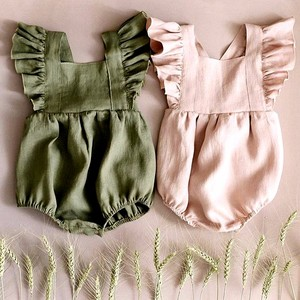 2019 summer fly sleeved Baby Linen cotton Girls Jumpsuit rompers green pink bodysuits