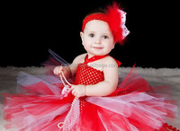 Love Hearts Red Feathers Tutu Girly Baby Valentine Crochet Dress Infant, Toddler Girls Fancy Newborn Skirt Birthday Party Dress