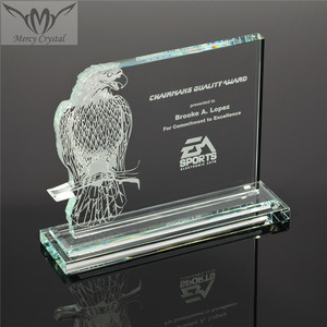 Personalized Jade Glass Perched Eagle Award for Business Achievement Gifts