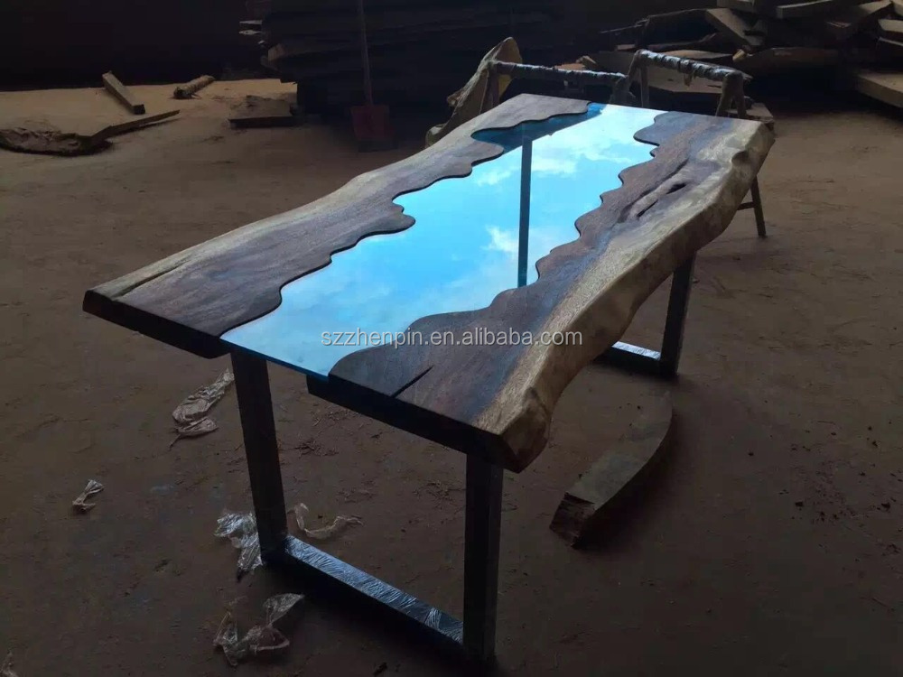 Live Edge Glass Inlay Solid Wood Slab Dining Table Glass
