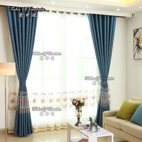 bleu pur couleur rideau blanc fleuri frais impression pas cher prix