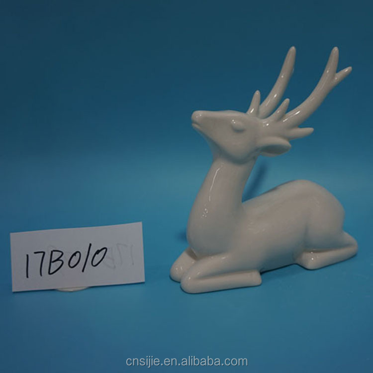 Custom Personalized Handmade Unpainted Ceramic White Reindeer Figurines