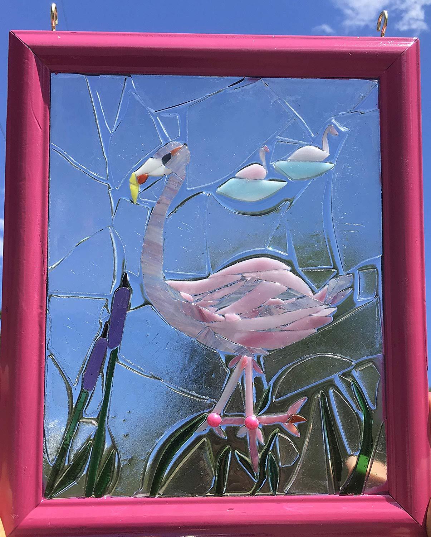 Flamingo stained Glass Window Art Sun Catcher