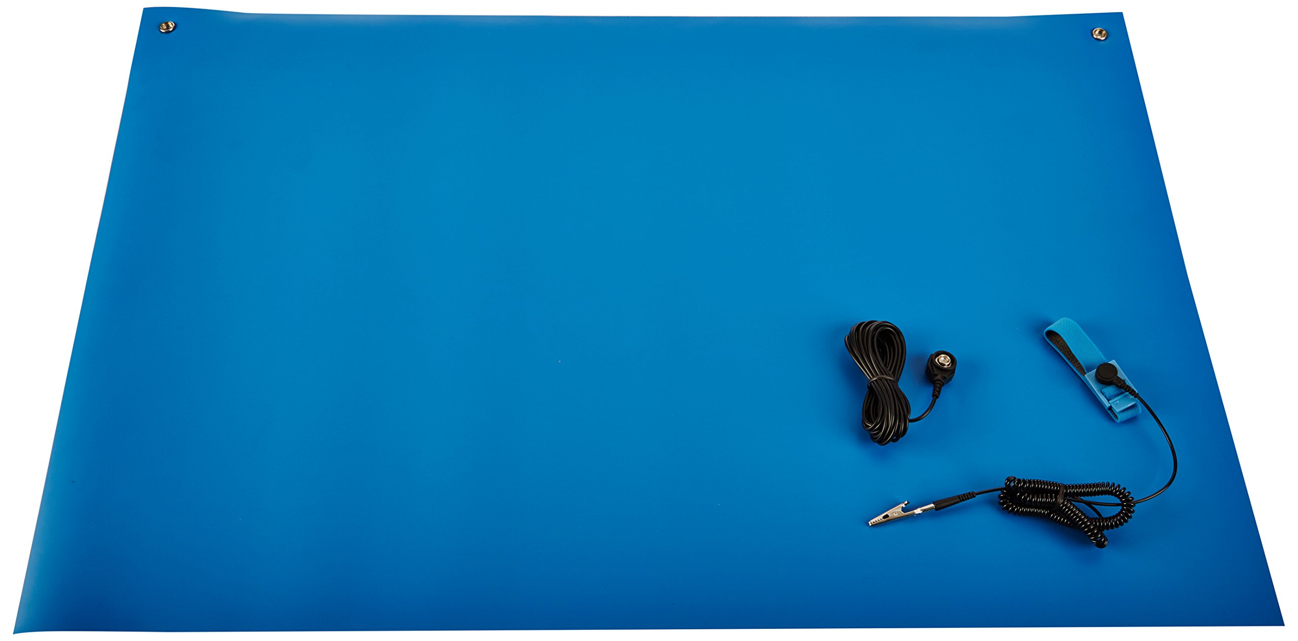 2 Wide x 3 Long x 0.06 Thick Bertech ESD Two Layer Rubber Mat Kit with a Wrist Strap and a Grounding Cord Blue