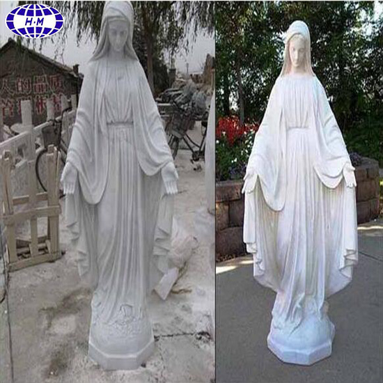 Natural white marble virgin mary statues for garden decoration