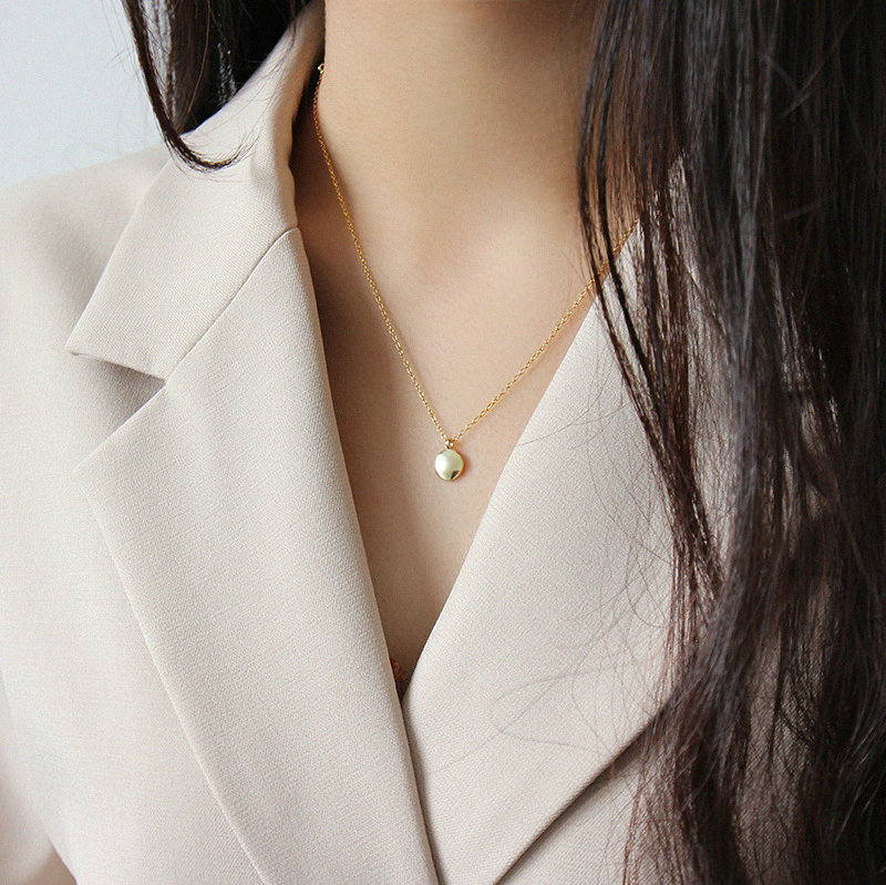Minimalist jewelry Small disk coin pendant 14K gold plated sterling silver necklace
