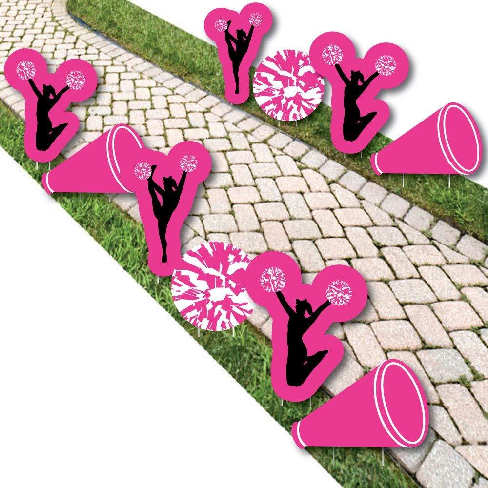 We've Got Spirit - Cheerleading - Pom-Pom, Cheer & Megaphone Lawn Decorations - Outdoor Birthday Party Or Cheerleader Party Yard Decorations - 10 Piece