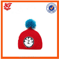 Clock pattern red color baby knitting hat