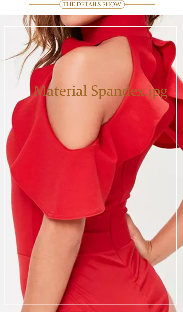 b1e5ac6986613 lady clothes custom plain red frill cold shoulder women sexy tops bodysuit
