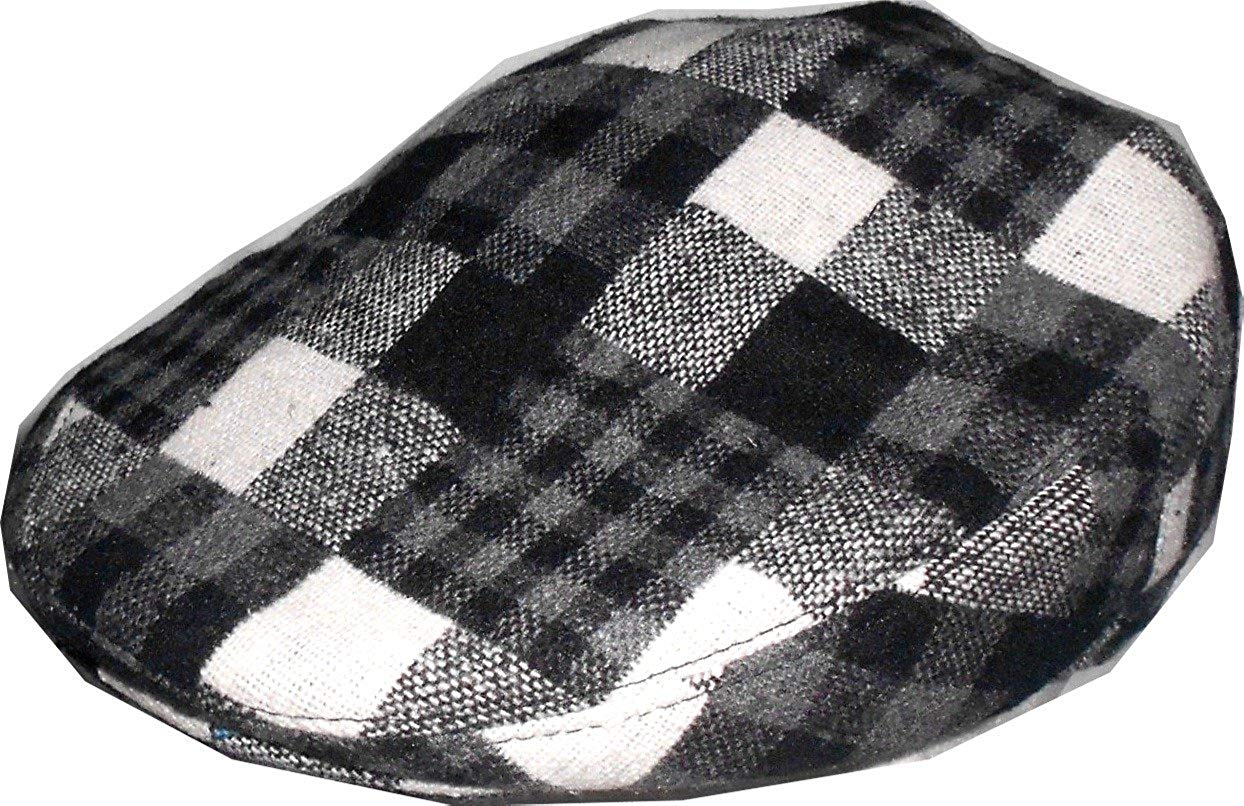 Get Quotations · Mens Wool Blend Plaids Patchwork Ivy Black White Golf Driver  Hat Irish Hunting Gatsby Flat Cap 6168f3c02332