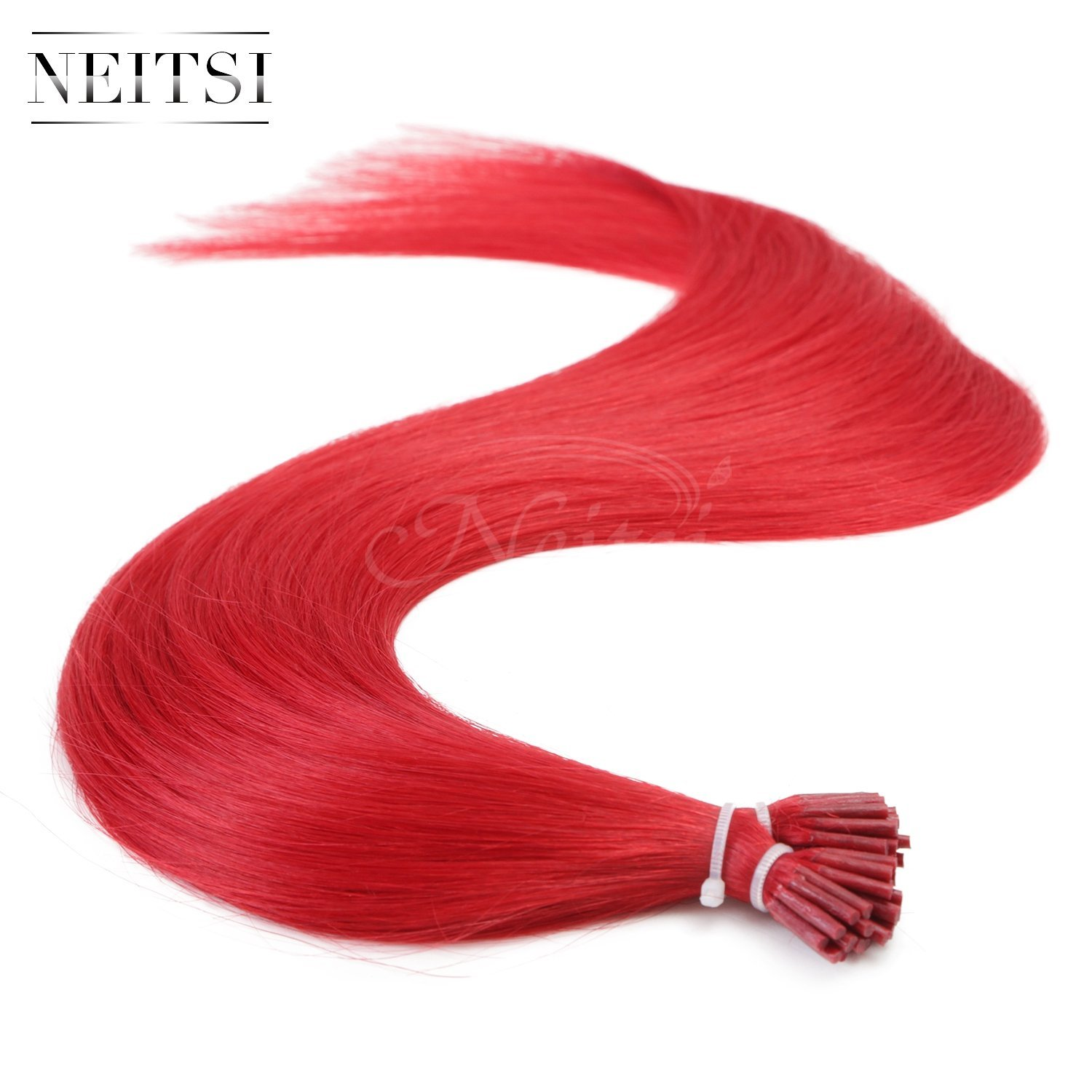 "Neitsi® 20"" 1g/s 25s/lot Fusion Glue I Tip/Stick Remy Human Hair Extensions (Red)"