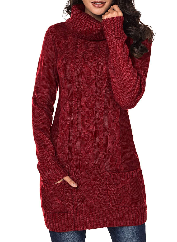 826349eea64 Get Quotations · Eytino Women Round Neck Knit Stretchable Elasticity Long  Sleeve Slim Fit Sweater Dress
