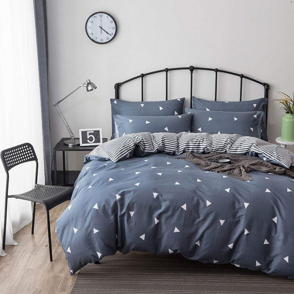 WAFTING Duvet Cover Set King Grey Blue 3 Piece(1 Duvet Cover + 2 Pilowcases) Bedding with Zipper Closure by, Reversible Triangles Pattern,100% Cotton - Ultra Comfy,Breathable - No Comforter