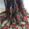 2018 Red flowers embroidery hard tulle lace fabric fashion lace dress fabric