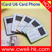 iCard U6 Small Size Ultra Thin Unlocked GSM Single SIM Bluetooth No camera Card Size Mobile Phone