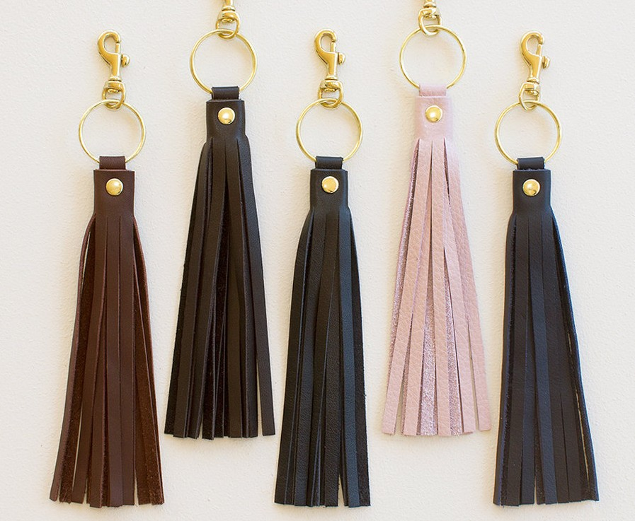 Leather Tassel Keychain, Leather Tassel Purse Charm