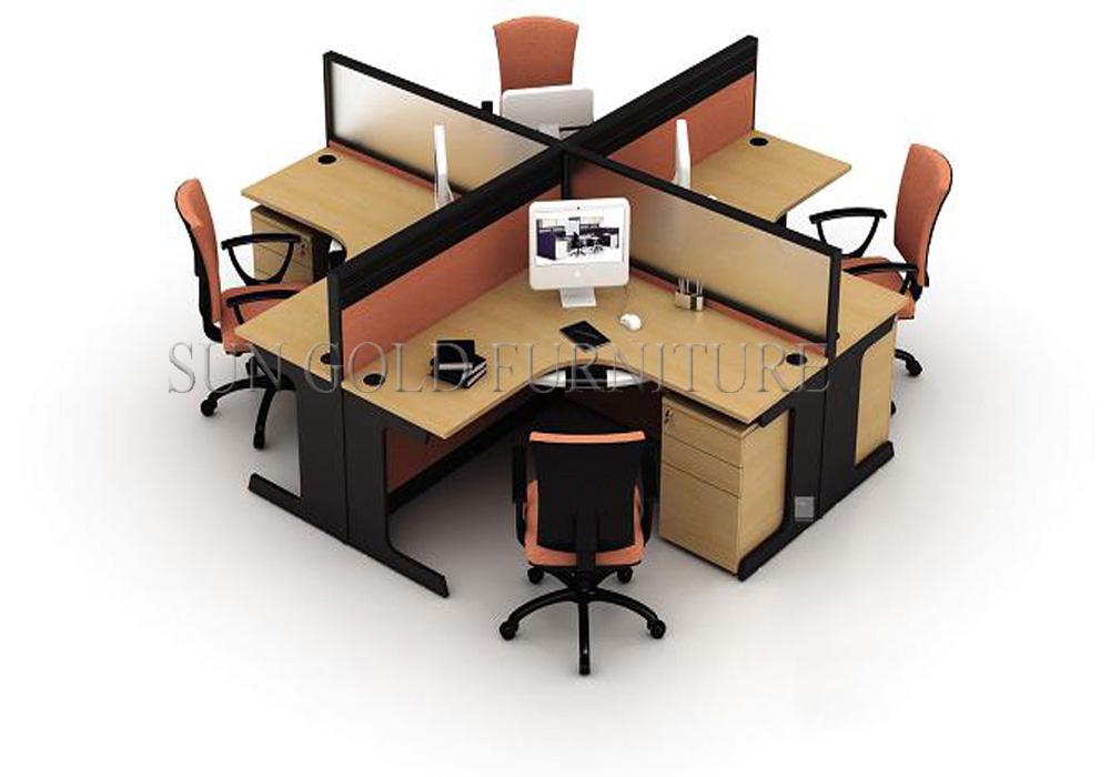 Fashionable fice Workstation partitions 4 Person Desk