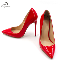 2018 Chic Ladies Red Patent PU Pointy Toe Streight Pencil High Heel Dress Shoes Party Dress For Women