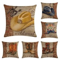 American Style Cowboy Wild West Culture Equestrian Sports Team Roping Barn Decorative Pillow Cover Wholesale OEM